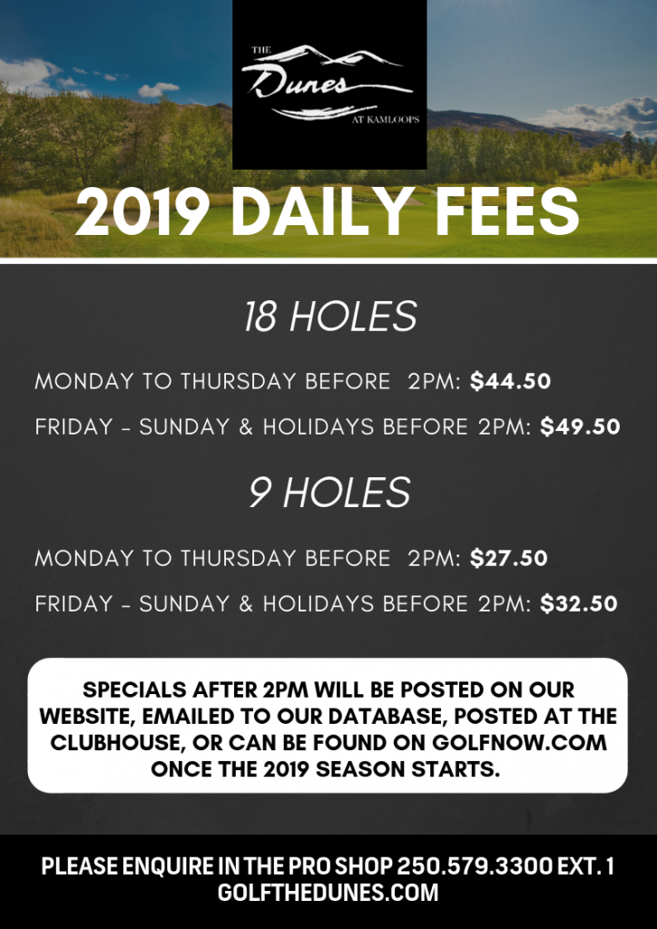 2019 The Dunes Daily Fees